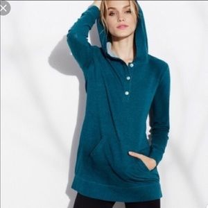 CAbi Long Sleeve Henley Stretch Hoodie Tunic  C425